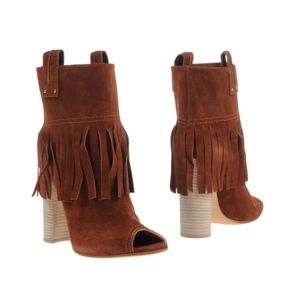 CASADEI + Brown Fringe  Ankle Bootie 6.5